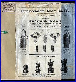 PARIS (IX° & XIX°) CATALOGUE de LAMPES pour MINEUR, CHEMINOTS. Albert BUTIN