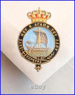 Papier lettre enveloppe Famille Royale de Grèce grec Greece armoiries kerkira