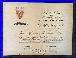 Paquebot Normandie Certificat Voyage Inaugural