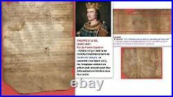 Parchemin 1300 sous PHILIPPE LE BEL époque Templiers signé GUIBAL Notaire Royal
