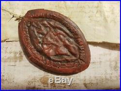 Parchemin Epoque Henri IV Spectaculaire Cachet De Cire 1597