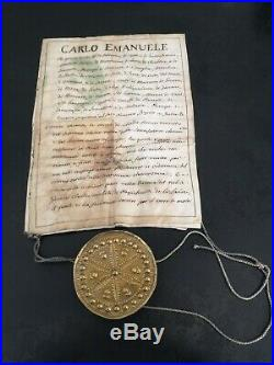 Parchemin Ordre Anonciade Carlos Emanuel Sceau Cire Savoie savoia rara Italie