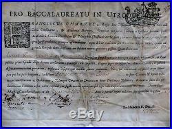 Parchemin XVIe XVIIe Baccalauratu in Utroque Jure Signé Guillemin Diplome Latin