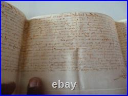 Parchemin ancien daté 1597 a vezet manuscrit recto verso avec sceau