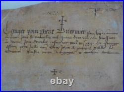 Parchemin de 1420, rédigé en français, bel état, à étudier