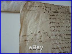 Parchemin louis par la grace de dieu Roi de france et de navarre manuscrit