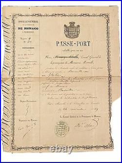 Passeport Monaco Émile BIOVES (Ancien Maire de Menton)