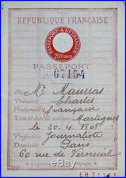 Passeport de Charles Maurras, pour les années 1937 à 1943
