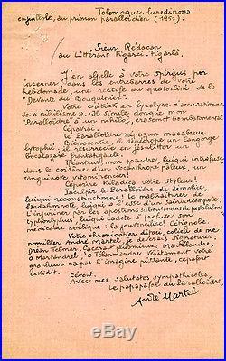 Pataphysique Martel lettre au Rédacteur du Figaro