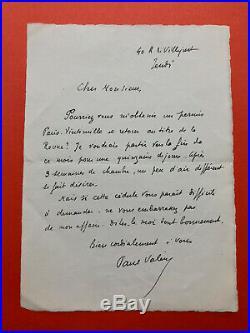 Paul VALÉRY Lettre autographe signée