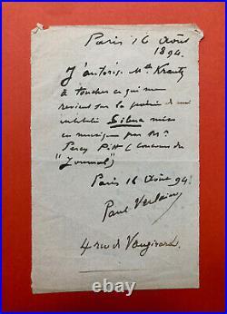 Paul VERLAINE Billet autographe signé à Léon Vanier