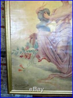 Peinture / affiche / panneau scène de théâtre entoilé (1877) de Louise ABBEMA