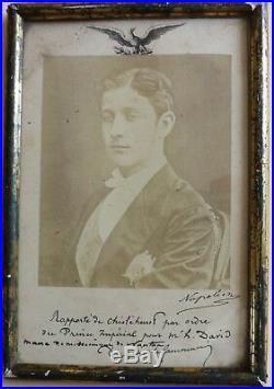Photo D'epoque Signee Napoleon & Envoi Du Prince. Dugue De La Fauconnerie 1870