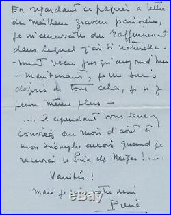 Pierre Balmain couturier lettre autographe signée 9 p. Difficulté 30 ans maison