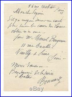 Pierre Bonnard / Lettre Autographe Signée (1916) / Louvre