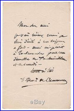 Pierre Puvis De Chavanne / Lettre Autographe Signée À Jules-elie Delaunay