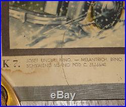 Planche Carte Scolaire Ancienne Les Saisons Hiver Ski Neige Hockey Luge Patin