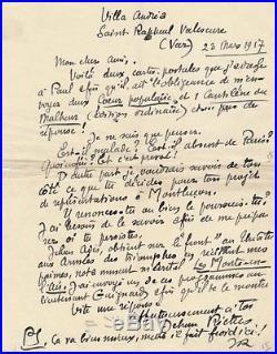 Poésie Jehan Rictus lettre autographe signée 1917 Cur populaire Jehan Adès