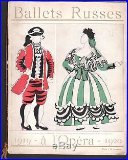 Programme officiel des Ballets Russes. Opéra 1919 1920. Picasso, Bakst, Derain