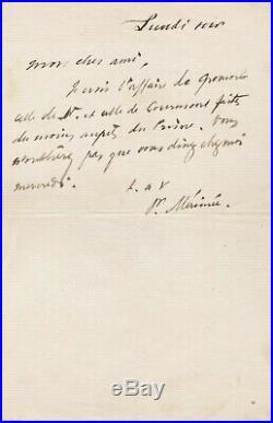 Prosper MÉRIMÉE billet autographe signé Prince Courmont monument historique