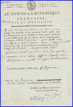 Prosper SIJAS autographe 1793 / Guillotiné avec Robespierre