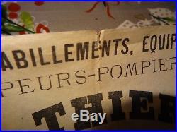 Publicité affiche A Thiery 1870 fabrique casques habillements sapeurs pompiers