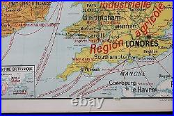 R189 Carte scolaire Lablache ILES BRITANNIQUES Britain Londre Dublin 11,2m