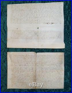 RARE! 2 ACTE NOTARIE MANUSCRIT PARCHEMIN BAYONNE & TOULOUSE 14ème siècle #B557S