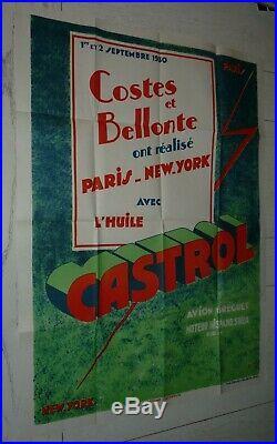 RARE AFFICHE HUILE CASTROL 1930 40 X 80 cm COSTES ET BELLONTE PARIS-NEW YORK