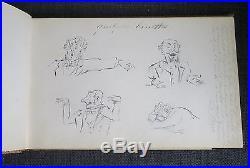 RARE ALBUM AMICORUM manuscrit avec dessins et aquarelles fin du XIXème siècle