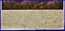 RARE Gravure originale et lettre manuscrite dEugène Delâtre Montmartre