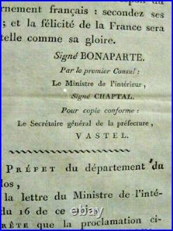 RARE affiche ORIGINALE Proclamation aux Français 14 juillet Bonaparte Napoléon
