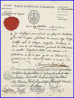 RARE autographe de FOUCAULT St-PRIX 1795 / Bataillon du Val de Grace