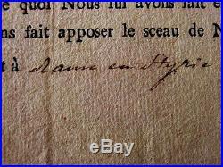RARISSIME DOCUMENT SIGNE du DUC DE BERRY/STYRIE 1801/ ARMEE ROYALISTE