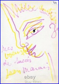 RARISSIME Dessin ORIGINAL de la main de l'Acteur JEAN MARAIS tiré d'1 livre d'Or