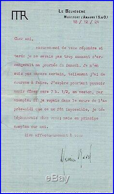 RAVEL (Maurice) L. Dactylographiée S. À Cher ami Souliée de Morant