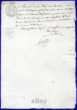 ROMAIN DESEZE, Reçu signé sur papier timbré 1806. Avocat de Louis XVI