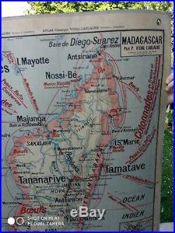 Rare Carte Scolaire Vintage Vidal Lablache n°36 INDOCHINE MADAGASCAR avant 1930