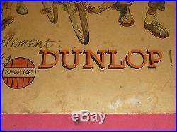 Rare Carton Affiche Ancienne Publicitaire Pneus De Velo Dunlop Bicyclette