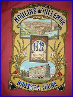 Rare Lithographiee Ancienne Publicitaire Moulins De Villemur 1912 Brusson Jeune