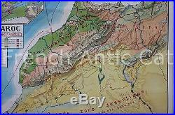 Rare ancienne carte scolaire Maroc Physique Etapes pacification Française 11,2m