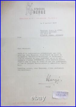Rare belle lettre tapuscrite signée Hergé dédicace autographe 1978 Tintin signed