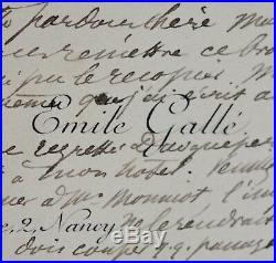Rare carte autographe d'Émile Gallé