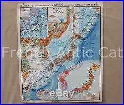 Rare carte école scolaire JAPON 34 politique économique physique pluie géologie