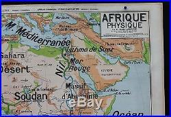 Rare carte scolaire vintage Afrique Physique 16 Vidal Lablache 11,2 m Sahara