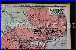 Rare carte scolaire vintage COCHINCHINE Politique 40 Lablache Vietnam 1180,96 m
