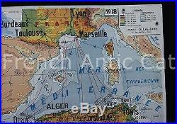 Rare carte scolaire vintage Delagrave Indochine Française Afrique Nord 123103