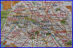 Rare carte scolaire vintage PARIS capitale 24 France Lablache 11999cm Loft P439