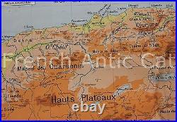 Rare carte vintage Département Alger Politique Physique Lablache 1,21 m Colonie