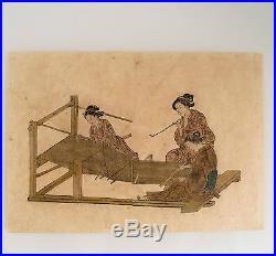 Rare et belle gravure du Japon, époque fin XVIII éme, 3 femmes en Kimono